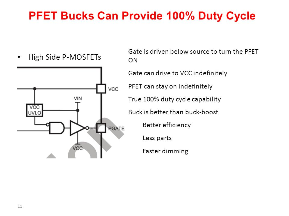 PFET Bucks Can Provide 100% Duty Cycle