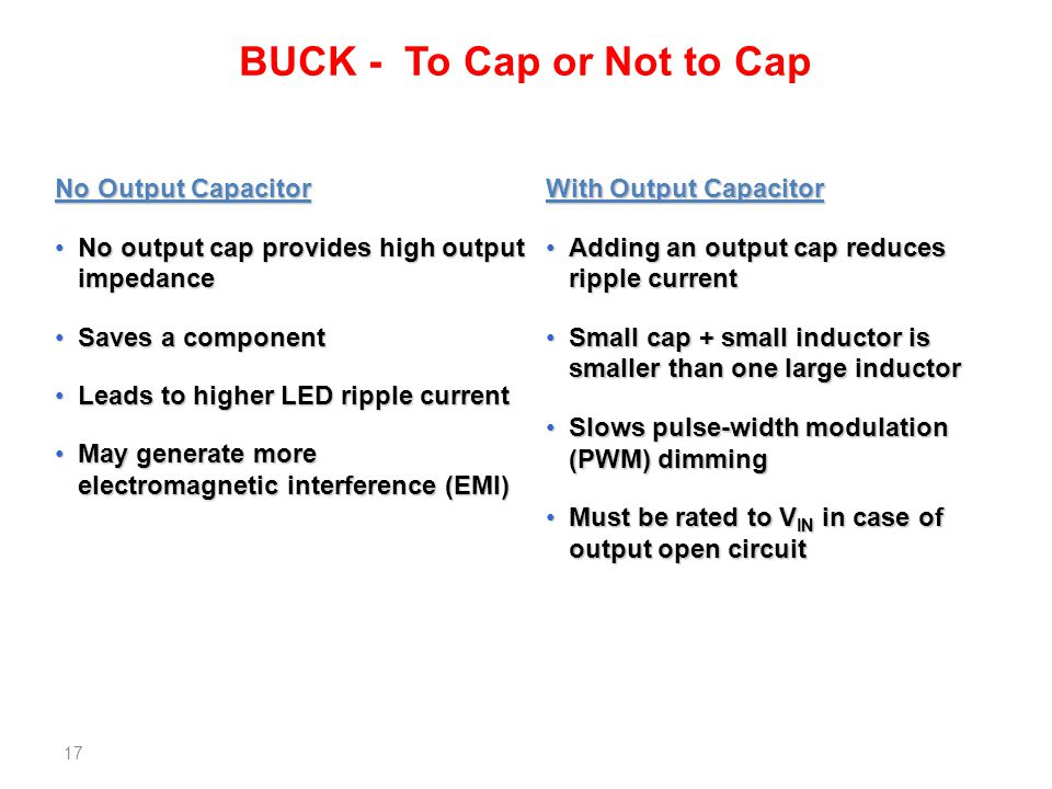 BUCK - To Cap or Not to Cap