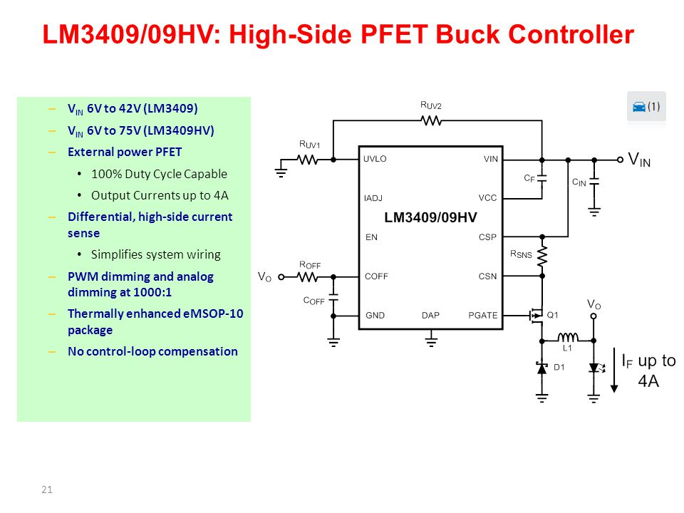LM3409/09HV: High-Side PFET Buck Controller
