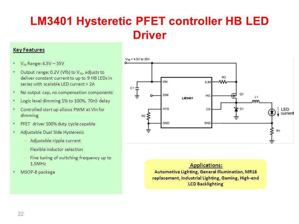 LM3401 Hysteretic PFET controller HB LED Driver