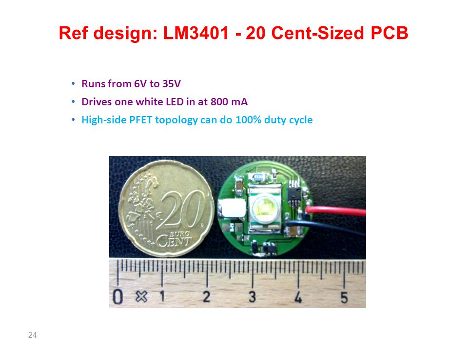 Ref design: LM3401 - 20 Cent-Sized PCB