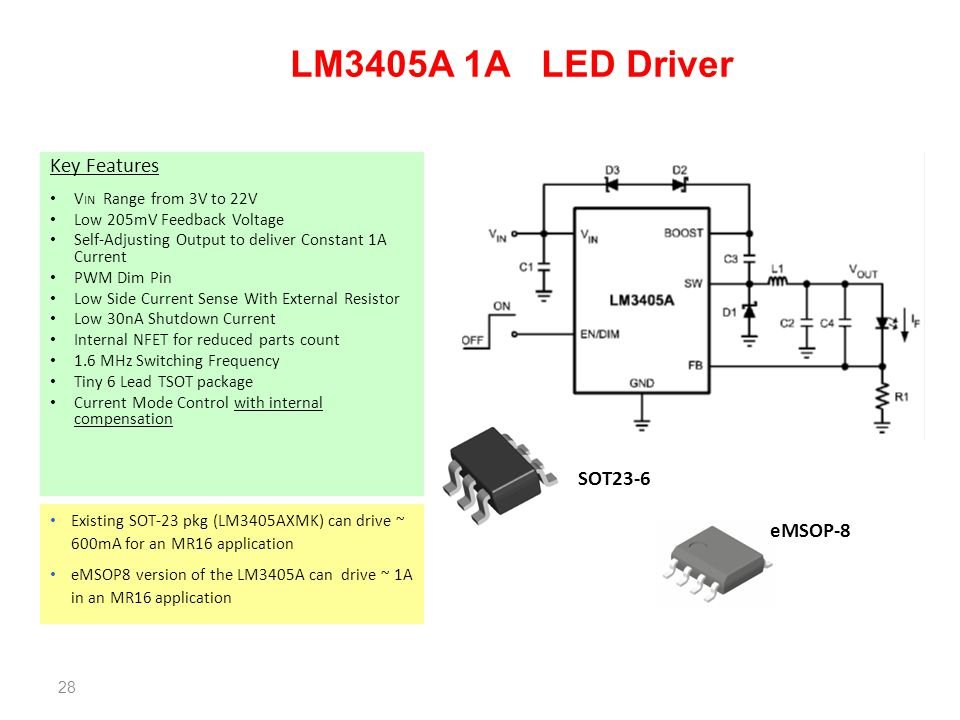 LM3405A 1A LED Driver Key Features SOT23-6 eMSOP-8