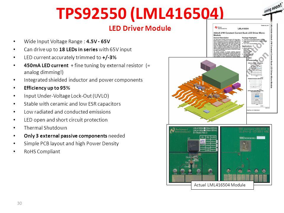 TPS92550 (LML416504) LED Driver Module
