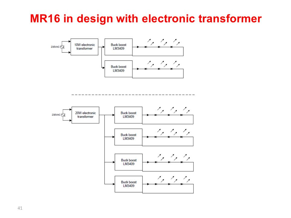 MR16 in design with electronic transformer