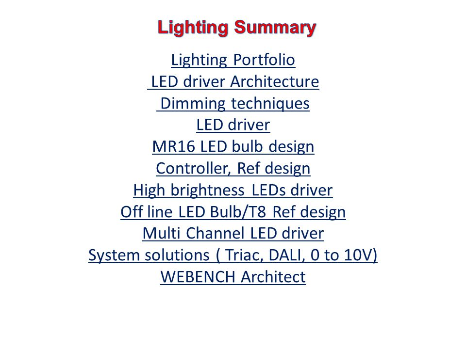 Lighting Summary