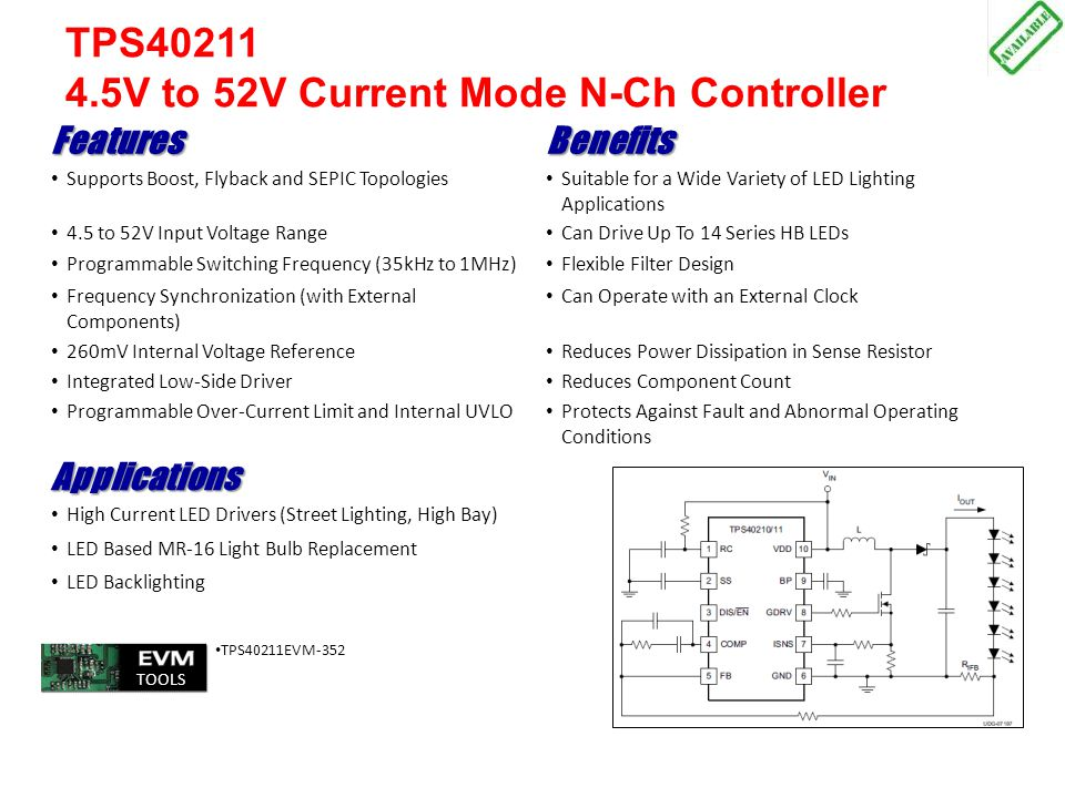 TPS40211 4.5V to 52V Current Mode N-Ch Controller