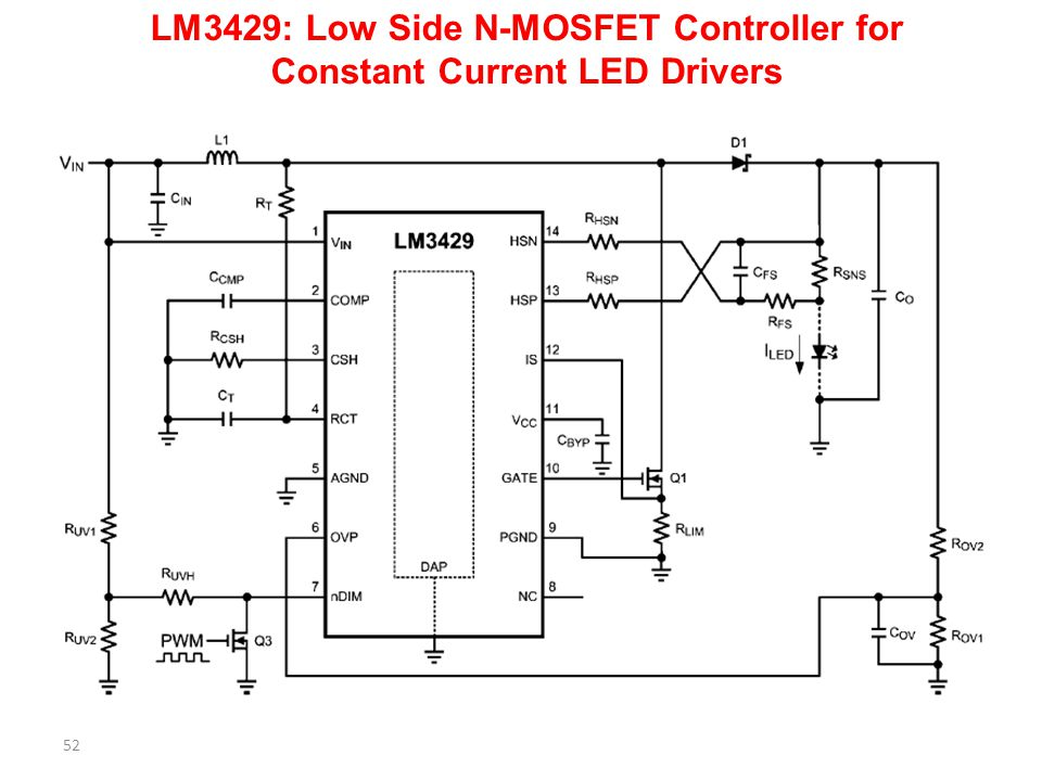 LM3429: Low Side N-MOSFET Controller for Constant Current LED Drivers