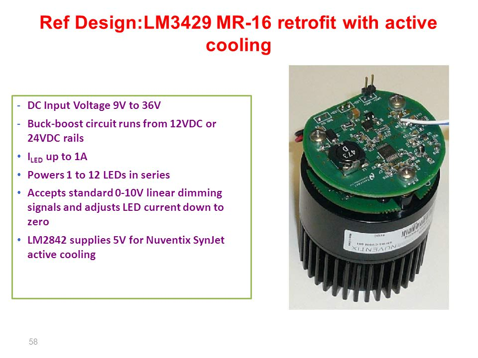Ref Design:LM3429 MR-16 retrofit with active cooling