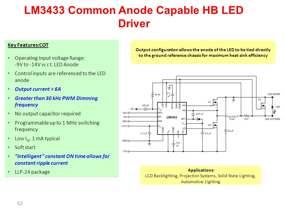 LM3433 Common Anode Capable HB LED Driver