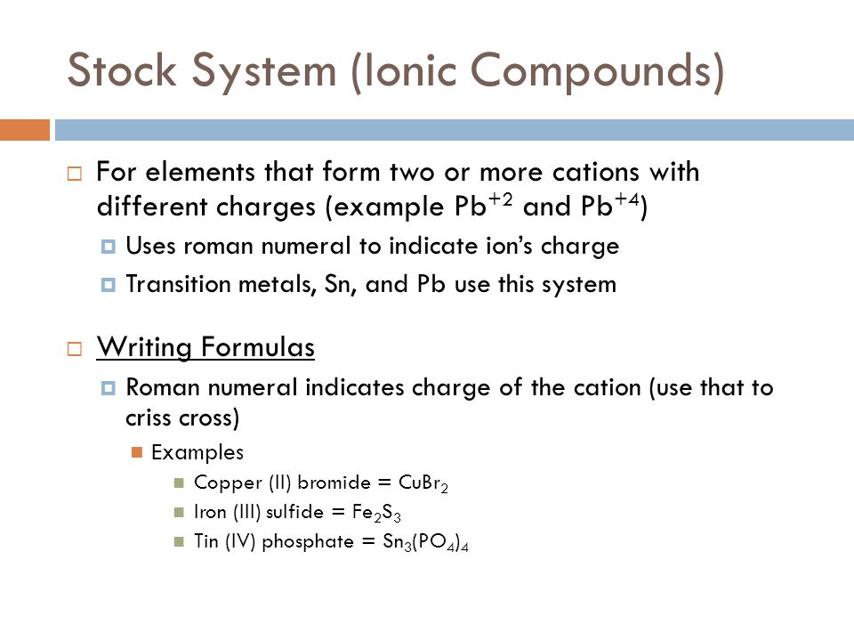 Stock System (Ionic Compounds)