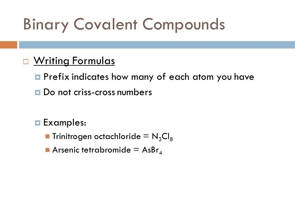 Binary Covalent Compounds