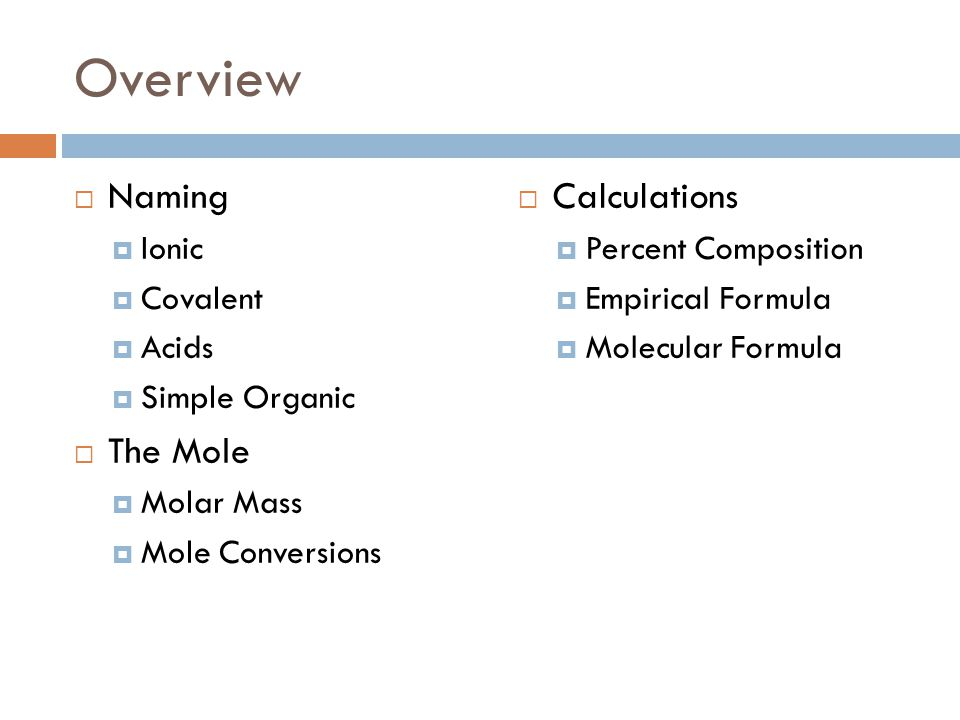 Overview Naming The Mole Calculations Ionic Covalent Acids