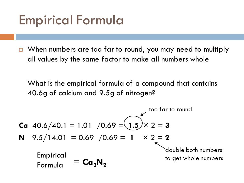 Empirical Formula = Ca3N2