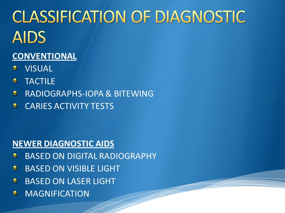 CLASSIFICATION OF DIAGNOSTIC AIDS