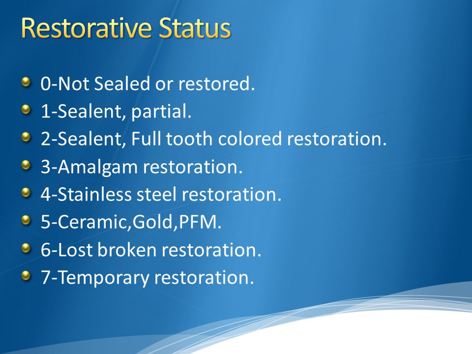 Restorative Status 0-Not Sealed or restored. 1-Sealent, partial.