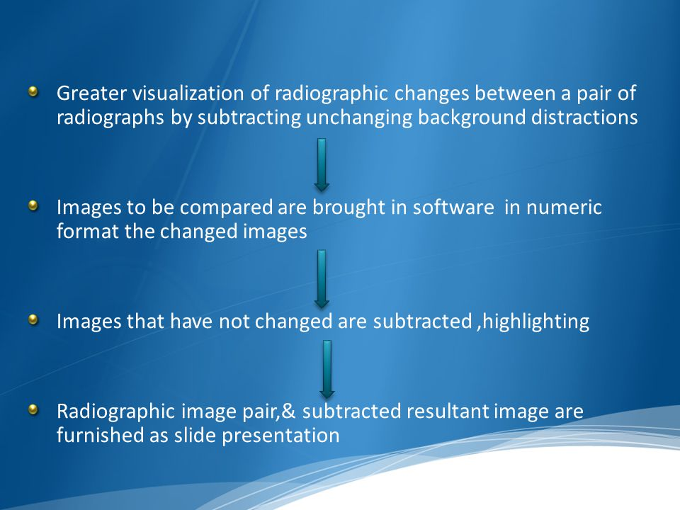 Greater visualization of radiographic changes between a pair of radiographs by subtracting unchanging background distractions