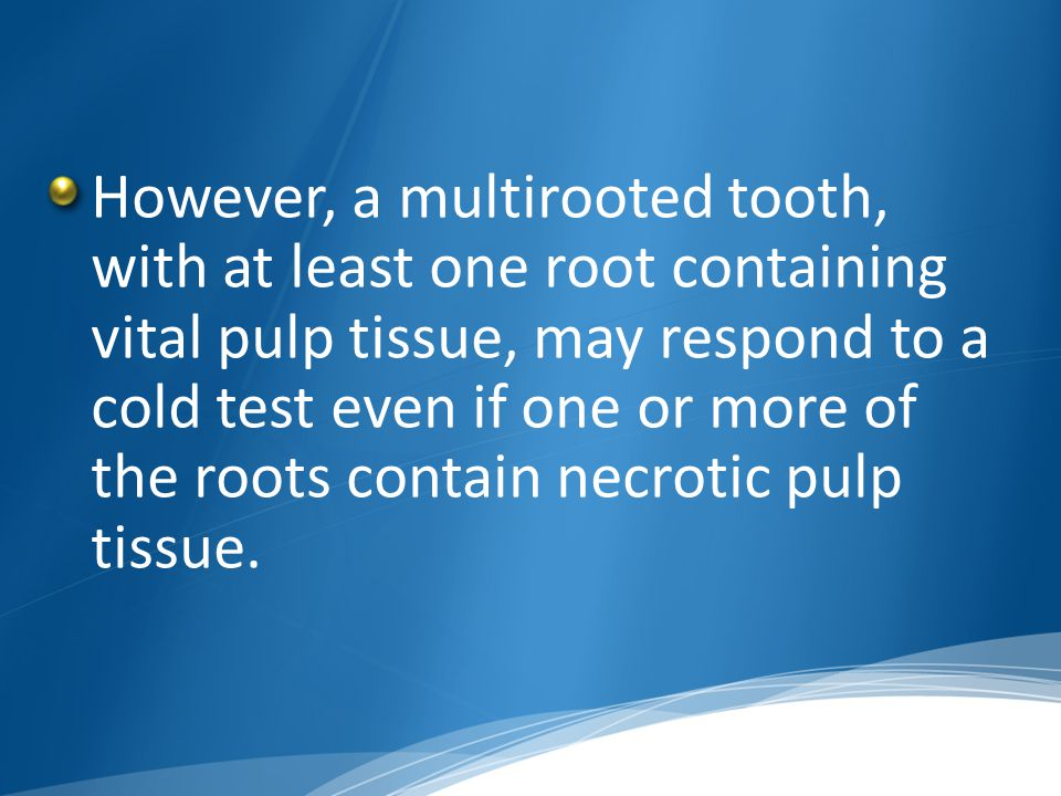 However, a multirooted tooth, with at least one root containing vital pulp tissue, may respond to a cold test even if one or more of the roots contain necrotic pulp tissue.