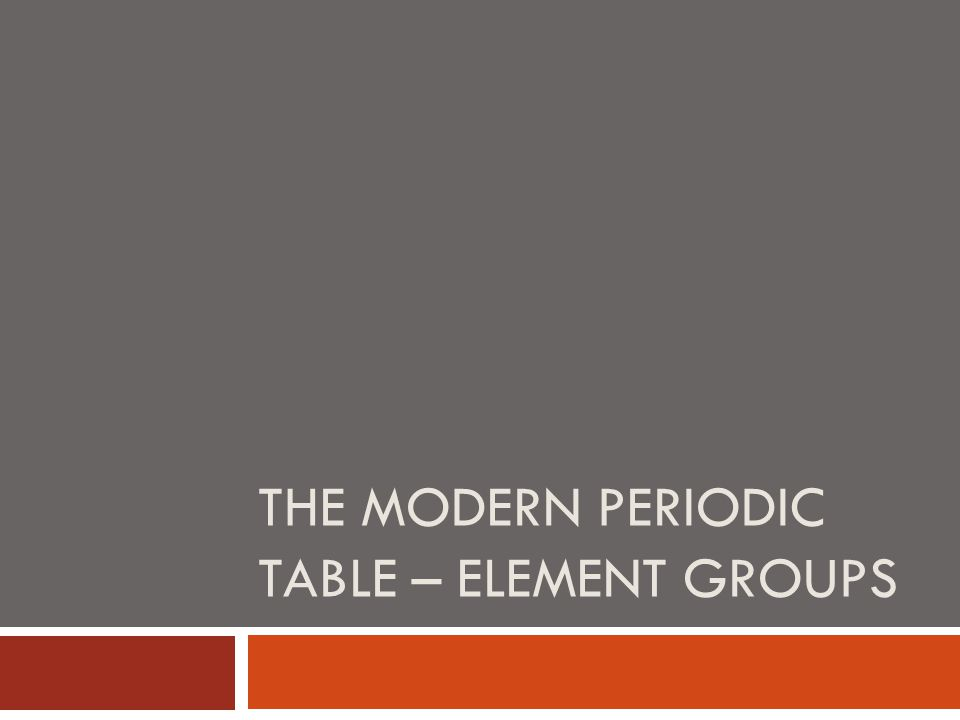 The modern periodic table – element groups