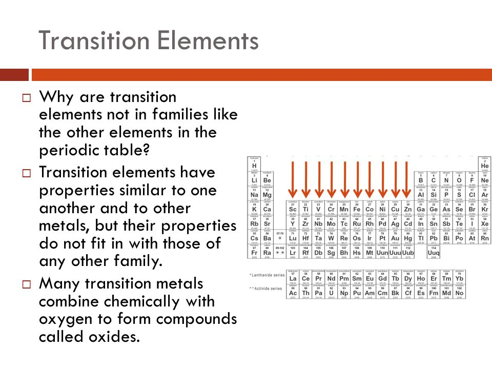 Transition Elements Why are transition elements not in families like the other elements in the periodic table