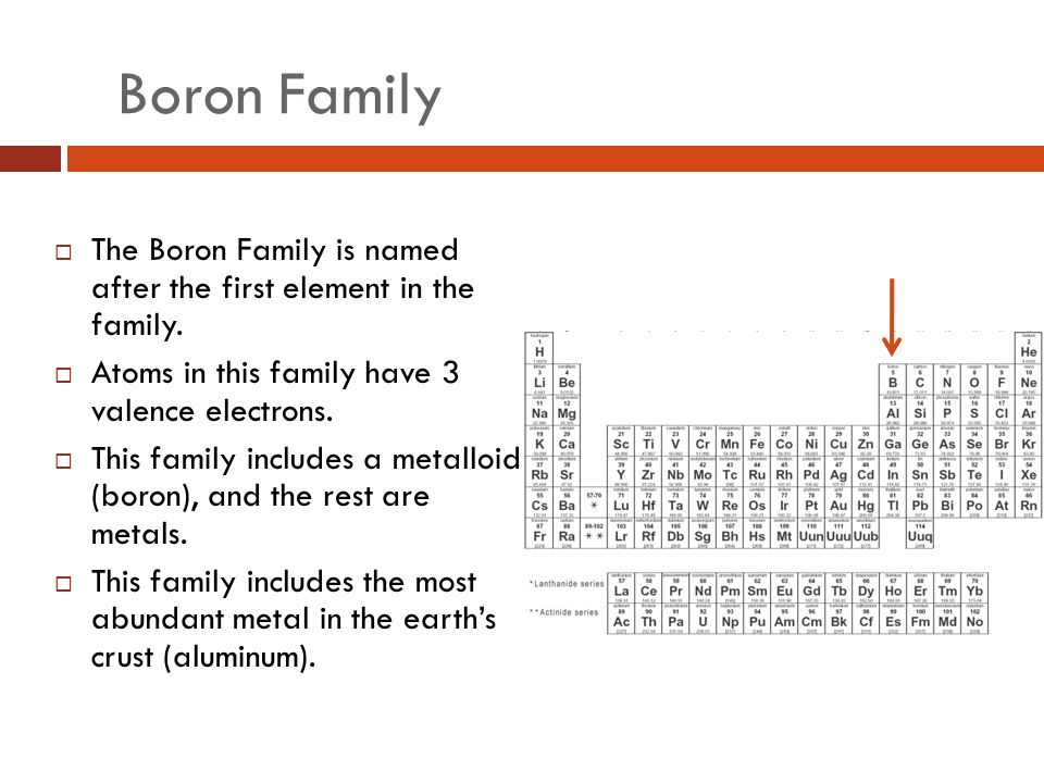 Boron Family The Boron Family is named after the first element in the family. Atoms in this family have 3 valence electrons.