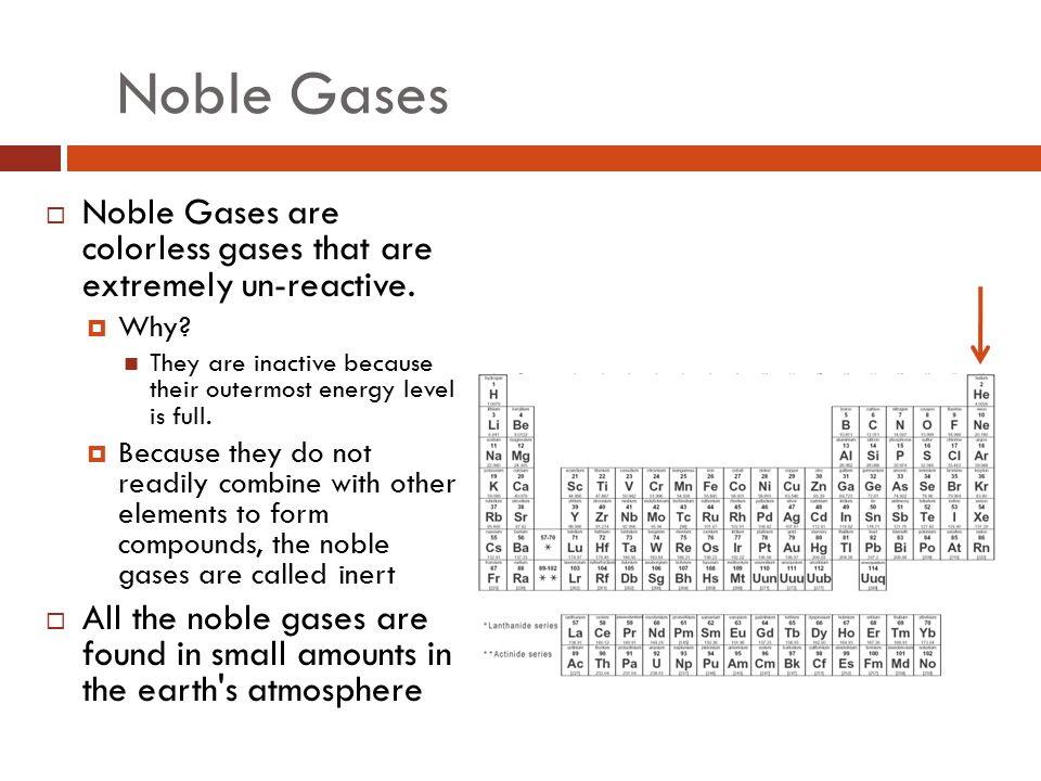 Noble Gases Noble Gases are colorless gases that are extremely un-reactive. Why