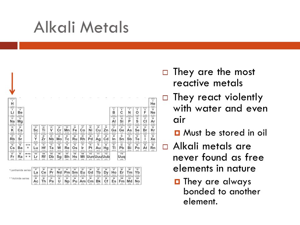 Alkali Metals They are the most reactive metals