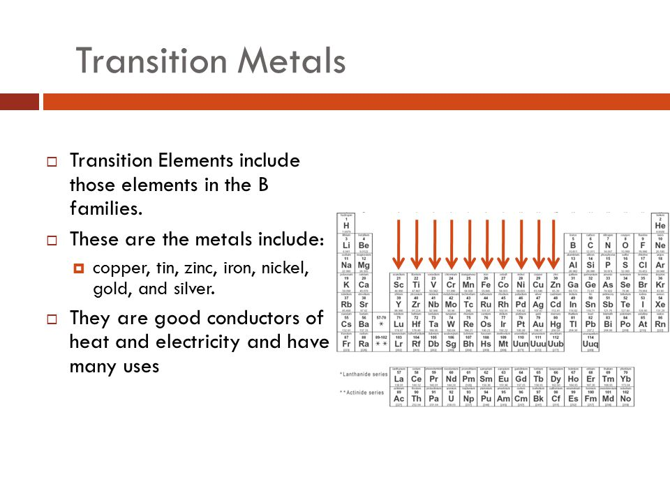 Transition Metals Transition Elements include those elements in the B families. These are the metals include: