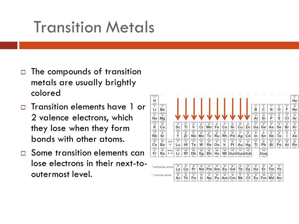 Transition Metals The compounds of transition metals are usually brightly colored.