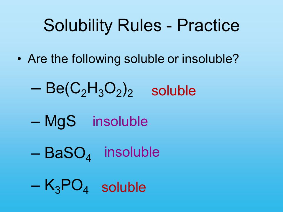 Solubility Rules - Practice