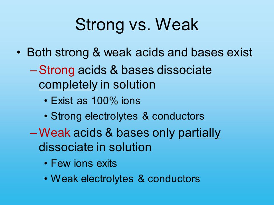 Strong vs. Weak Both strong & weak acids and bases exist