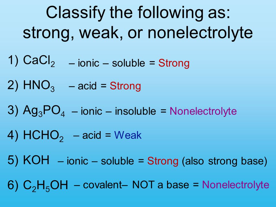 Classify the following as: strong, weak, or nonelectrolyte