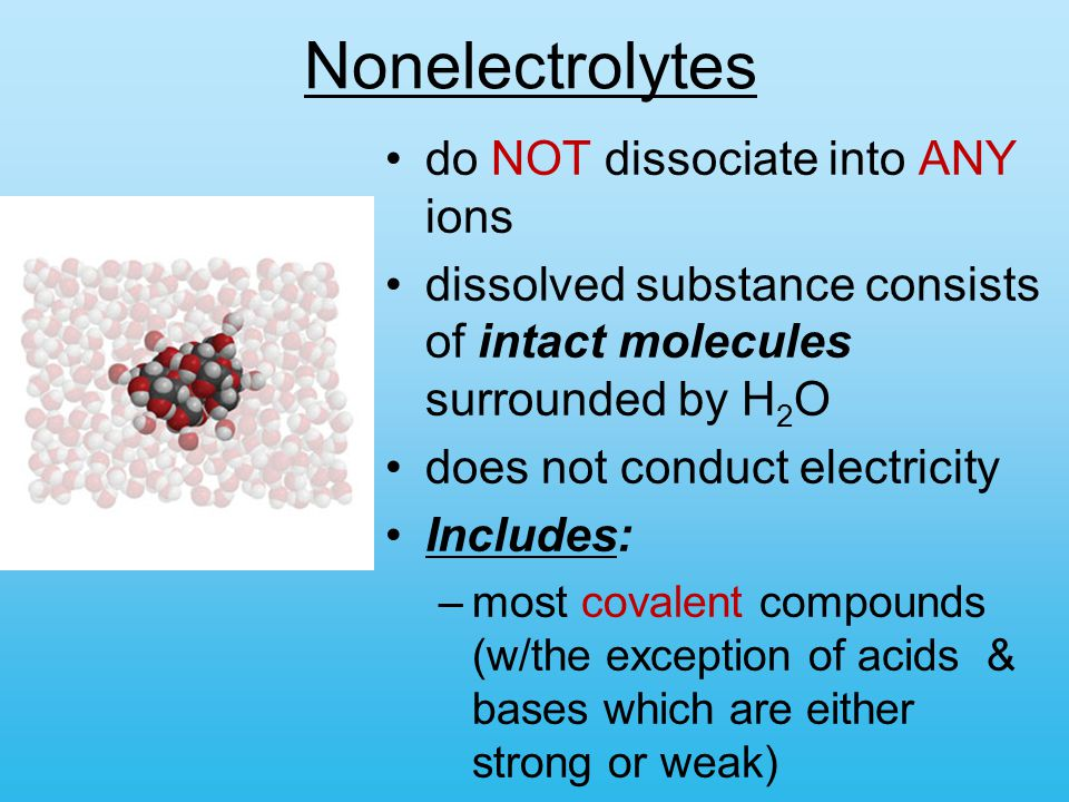 Nonelectrolytes do NOT dissociate into ANY ions