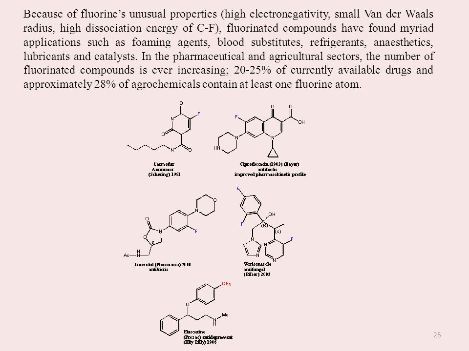 Because of fluorine's unusual properties (high electronegativity, small Van der Waals radius, high dissociation energy of C-F), fluorinated compounds have found myriad applications such as foaming agents, blood substitutes, refrigerants, anaesthetics, lubricants and catalysts.