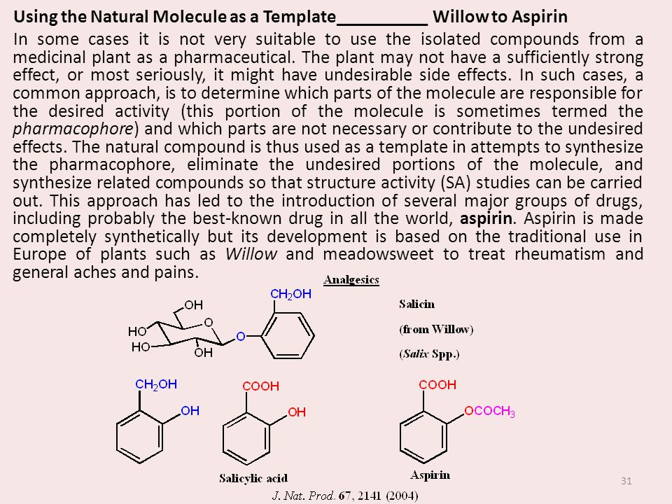 Using the Natural Molecule as a Template__________ Willow to Aspirin In some cases it is not very suitable to use the isolated compounds from a medicinal plant as a pharmaceutical.
