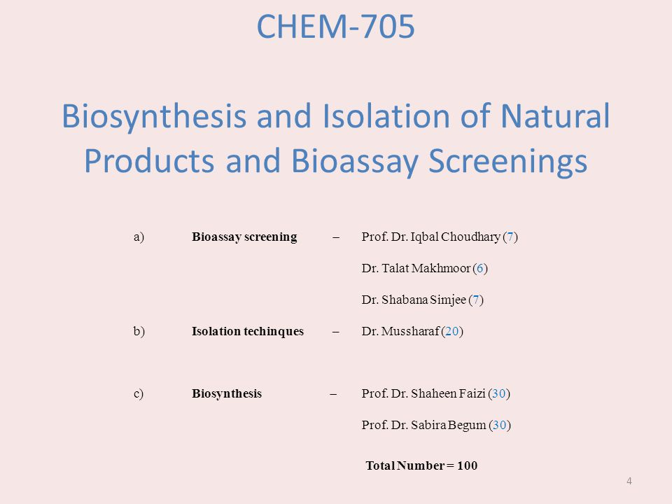 CHEM-705 Biosynthesis and Isolation of Natural Products and Bioassay Screenings