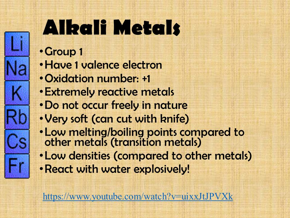 Alkali Metals Group 1 Have 1 valence electron Oxidation number: +1