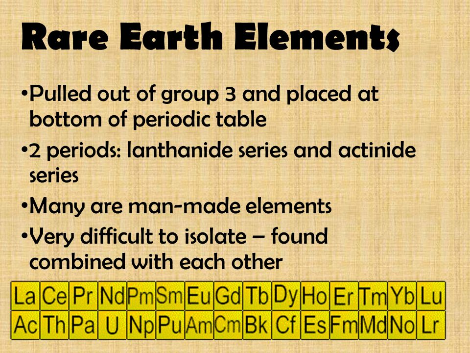Rare Earth Elements Pulled out of group 3 and placed at bottom of periodic table. 2 periods: lanthanide series and actinide series.