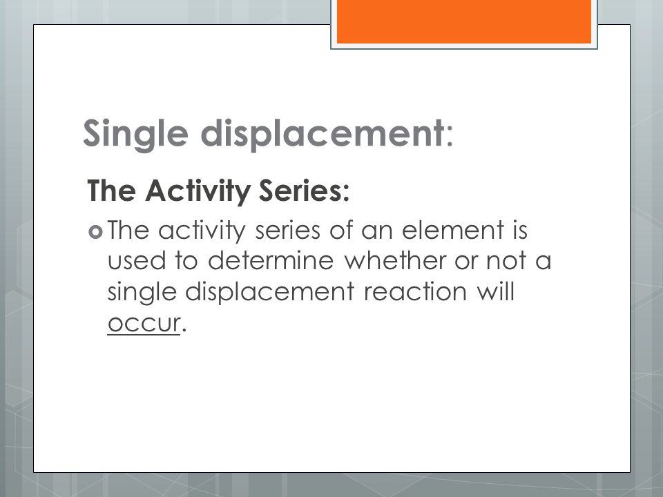 Single displacement: The Activity Series: