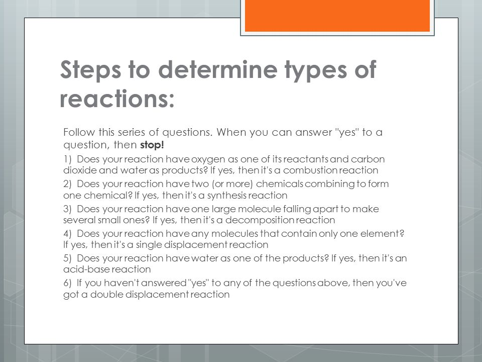 Steps to determine types of reactions: