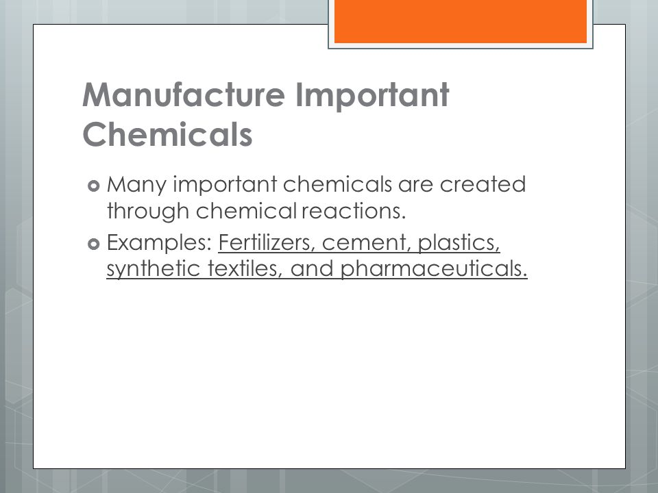 Manufacture Important Chemicals
