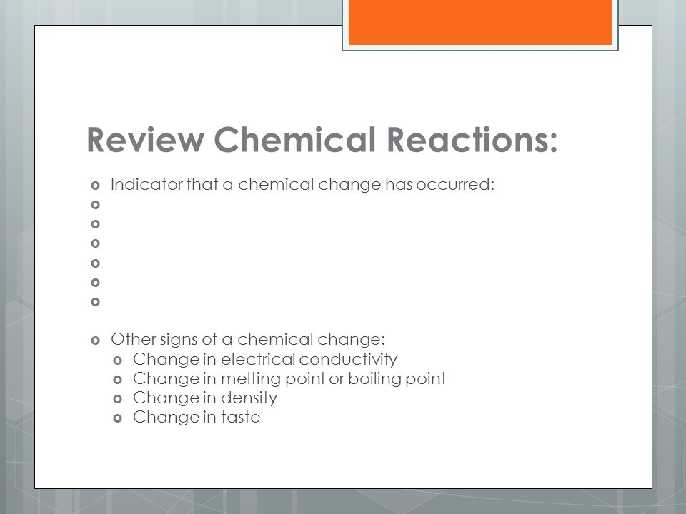 Review Chemical Reactions: