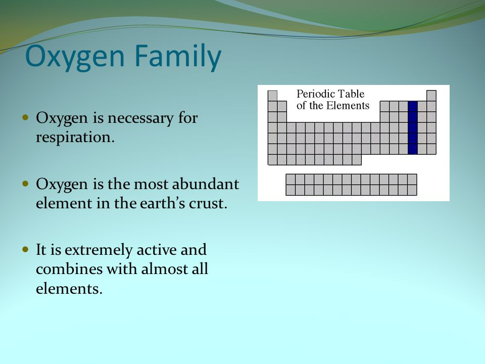 Oxygen Family Oxygen is necessary for respiration.