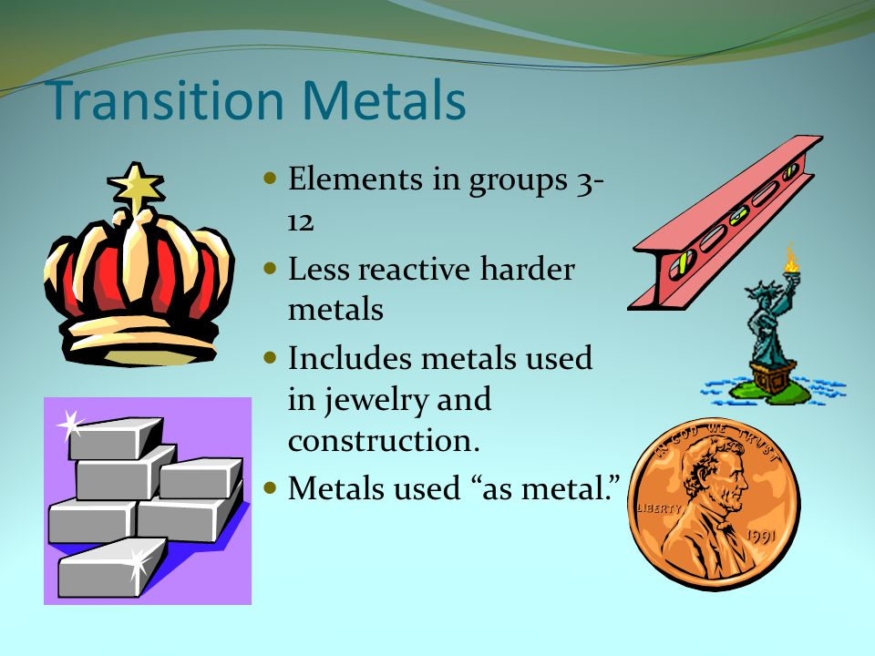 Transition Metals Elements in groups 3-12 Less reactive harder metals