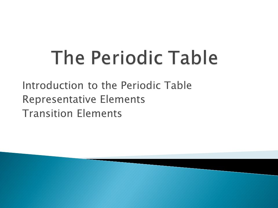 The Periodic Table Introduction to the Periodic Table