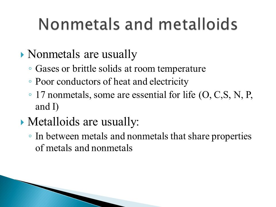 Nonmetals and metalloids