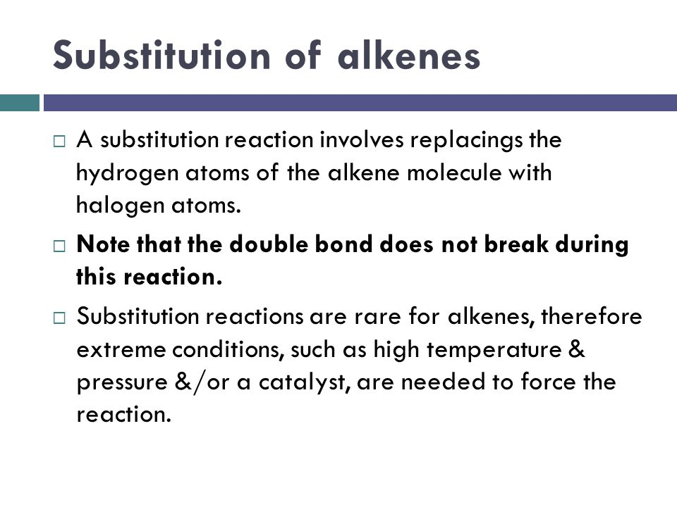 Substitution of alkenes