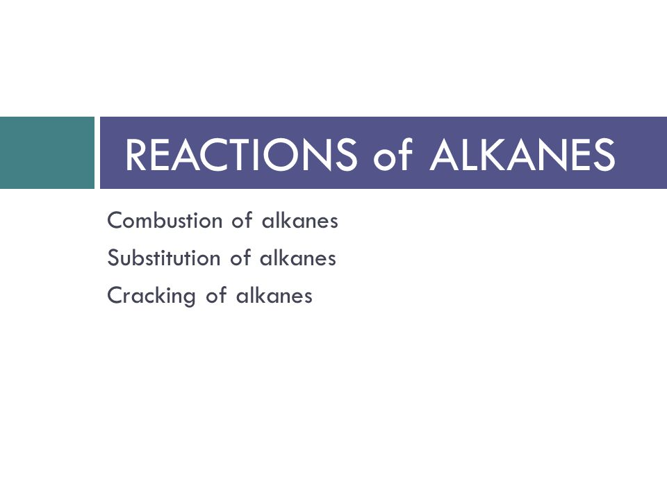REACTIONS of ALKANES Combustion of alkanes Substitution of alkanes