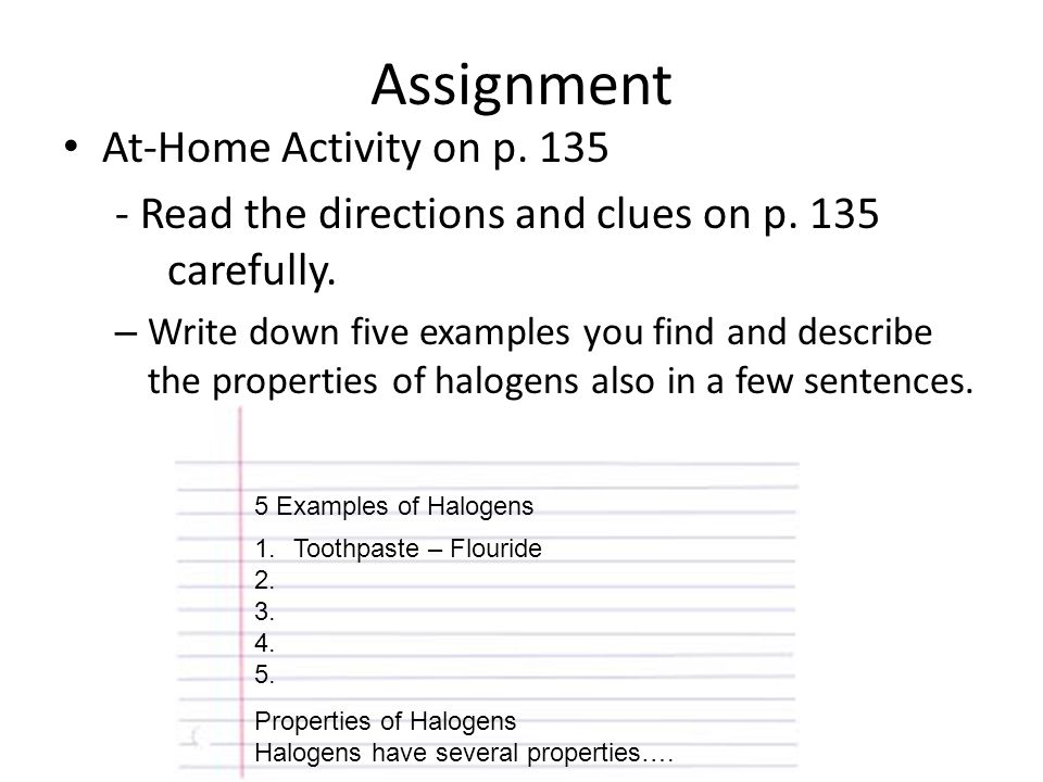 Assignment At-Home Activity on p. 135
