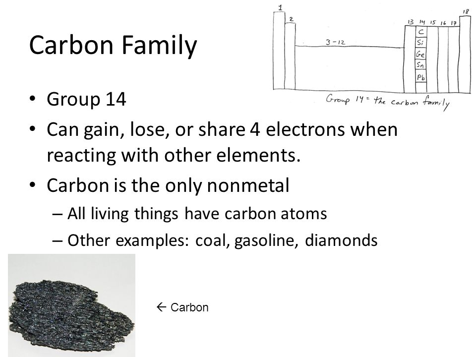 Carbon Family Group 14. Can gain, lose, or share 4 electrons when reacting with other elements. Carbon is the only nonmetal.