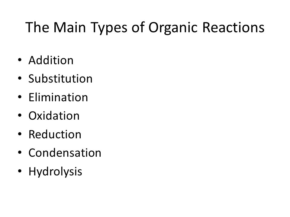 The Main Types of Organic Reactions